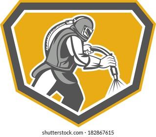Illustration of a sandblaster worker holding sandblasting hose wearing helmet visor set inside shield crest shape done in retro style.
