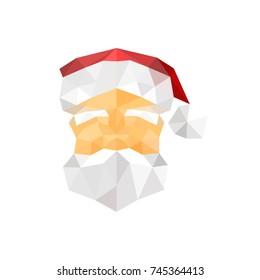 Illustration of santa claus origami portrait isolated on white background