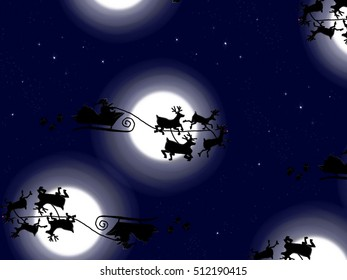 Illustration of a Santa claus sleigh pattern for Christmas.
