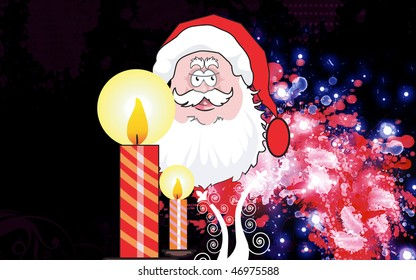 Illustration of Santa clause and lighted candles
