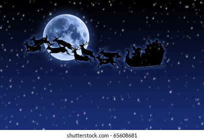 illustration of Santa sleigh and reindeer over full moon with falling snow
