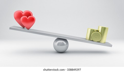 Illustration of scales with red hearts and money