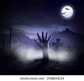 Illustration -  Scary halloween full moon night.