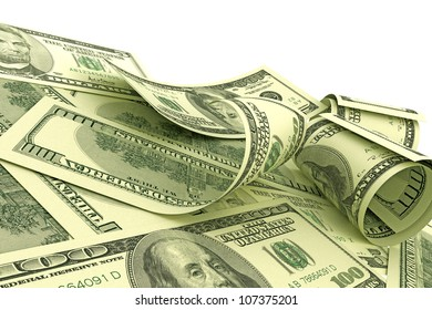 Illustration of scattered 100 US Dollars notes