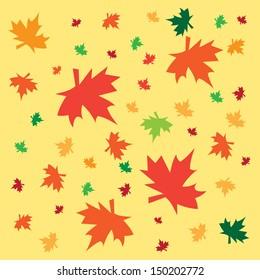 Illustration scattered leaves on a light background