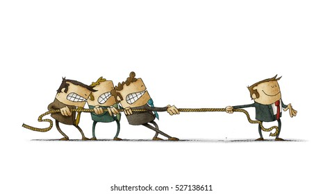 Illustration of a scene of rope tugging where three people try hard to cope with one man. Isolated, white background