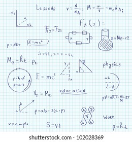 Illustration of a school exercise book on physics. Seamless pattern. Raster version