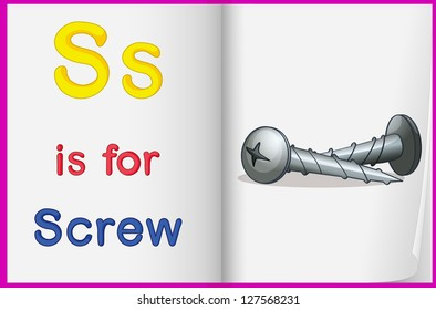 Illustration of a screw in a book on a white background
