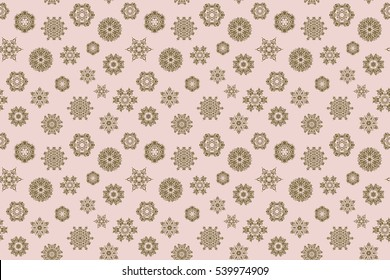 Illustration. Seamless pattern on neutral background. Simple snowflakes seamless pattern, floral elements, decorative ornament. Arab, Asian, ottoman motifs.