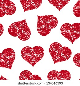 illustration of a seamless pattern with the red grunge hearts