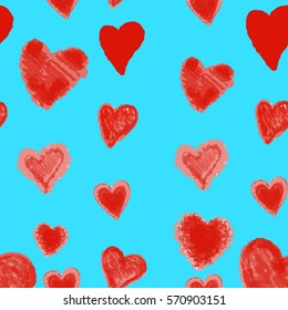 illustration Seamless  with red watercolor hearts.