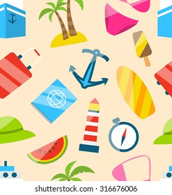 Illustration Seamless Texture of Travel on Holiday Journey, Summer Flat Icons - raster