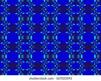 Illustration of seamless tile in bright monochromatic blue.