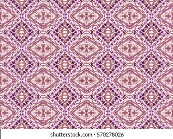 Illustration of seamless tile with complex pink and purple design.