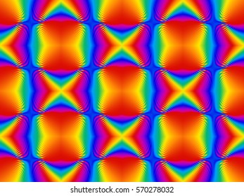 Illustration of seamless tile in psychedelic rainbow colors.
