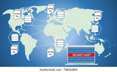 Illustration of security audit trail of world wide databases. Audit trail is a security-relevant chronological record, and or destination and source of records that provide documentary evidence.