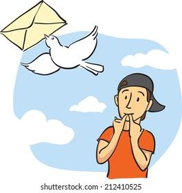 illustration of sending mail message