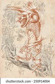 Illustration of a series of legendary animals and monsters (skeleton): BIGFOOT. An hand drawn and painted full sized illustration (Original). Version: drawing on old paper.