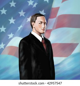 Illustration of serious politican with flag of USA