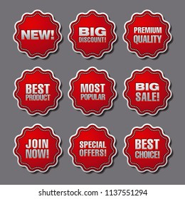 illustration of set adverising discount chevrons and stickers for best sales