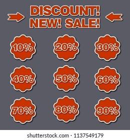 illustration of set adverising discount labels for sales