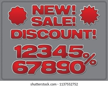 illustration of set adverising discount red chevrons and stickers for sales