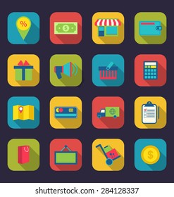 Illustration set flat colorful icons of e-commerce shopping symbol, online shop elements and commerce item, long shadow design - raster