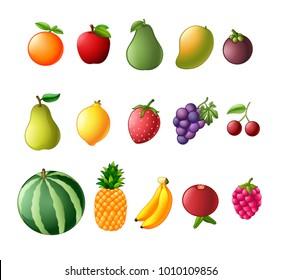 Illustration of a set of fresh fruit