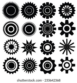 illustration with set of gears on white background
