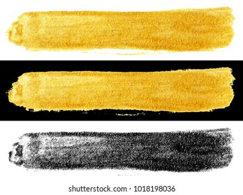 illustration set of hand drawn gold and black colors paint smear stain isolated on white and black backgrounds