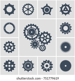 illustration. Set icons black mechanical gears on a white background. contoured silhouette