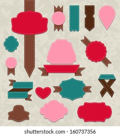 Illustration set ribbons, vintage labels, geometric emblems - raster