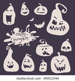 Illustration of set smiling pumpkins for happy Halloween. Cartoon pumpkins silhouette icon badges, happy Halloween logos emblems and labels on dark background