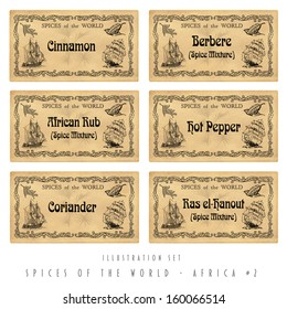 Illustration set spice labels, Africa #2