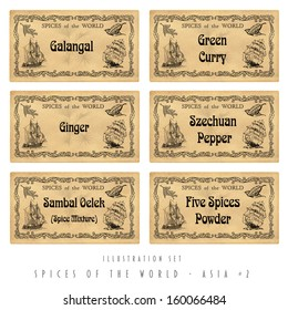 Illustration set spice labels, Asia #2