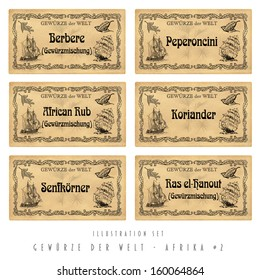 Illustration set spice labels, Orient
