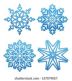 Illustration set of variation snowflakes isolated - raster
