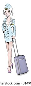 illustration of sexy stewardess with bag