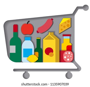 illustration of shopping cart with different meals and food