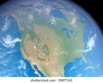 An illustration showing Northamerica as seen from space