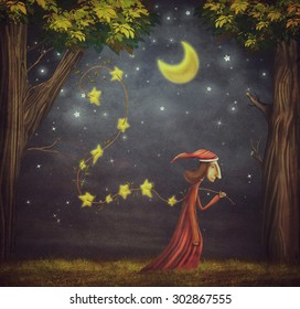 Illustration showing the wizard collecting stars in a forest