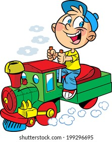 The illustration shows a boy who plays in engineer a toy locomotive. Illustration done in cartoon style