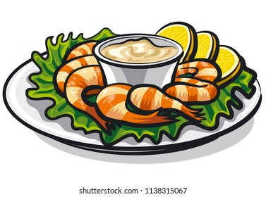 illustration of shrimps cocktail with sauce and lemons on plate