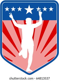 illustration of a silhouette of Marathon runner flashing victory sign done in retro style with  stars sunburst and stripes in shield