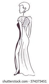 Illustration silhouette sketch female in a long dress that hugs the sports figure