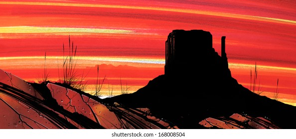 An illustration of a silhouetted mountain, or Mitt, in Monument Valley, Arizona, at sunset with rocks in the foreground.