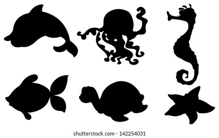 Illustration of the silhouettes of the different sea creatures on a white background