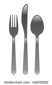illustration of simple cutlery existing of fork, knife and spoon