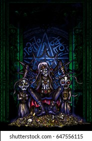 Illustration sinister dark prince. He sits on a throne by a gold pile with two servants acolytes. Against a background of a magical portal with a copy space