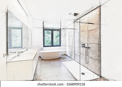 Illustration sketch of a Bathtub in corian, Faucet and shower in tiled bathroom with windows towards garden